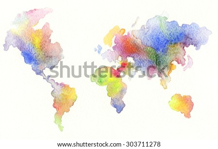 World map , watercolor illustration - stock photo