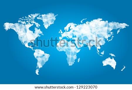 World map white - stock photo
