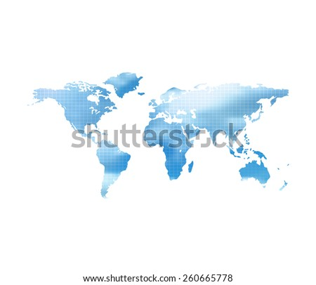 World Map With Blue Cloud Sky On A White Background - stock photo