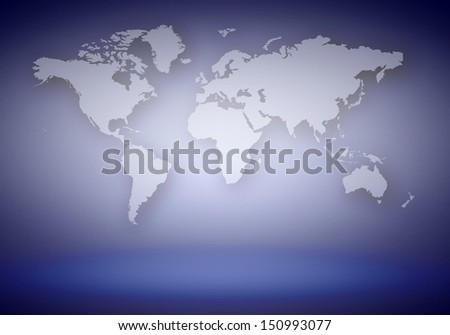 World map with continents bright illustration background