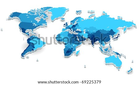 World map with countries in cool colors. Raster version. Vector version is also available. - stock photo