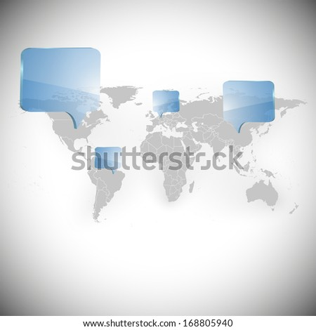 World map with dialog boxes background illustration  - stock photo