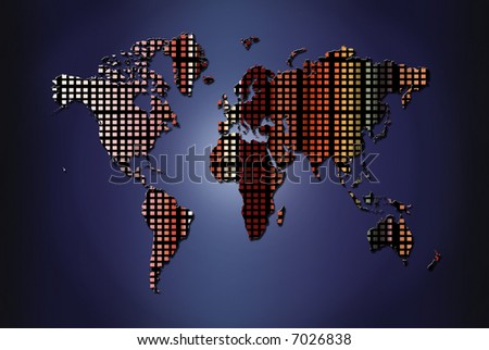 World map with diferents colors - stock photo