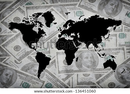 World map with dollard in background - stock photo