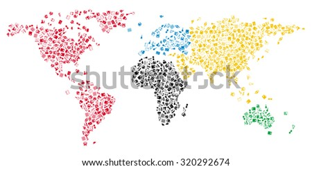 World map with education icons in contours of continents.  Raster illustration. - stock photo