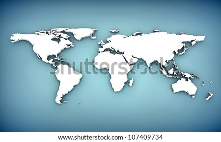 world map with extrude continents - stock photo