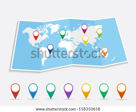 World map with geo position pins travel elements composition.  - stock photo