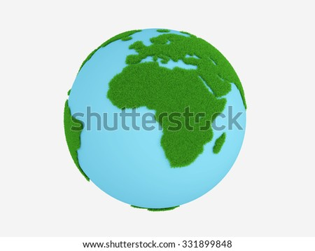 World Map with Grass - stock photo
