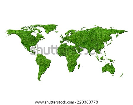 World map with grass texture isolated on white background - stock photo