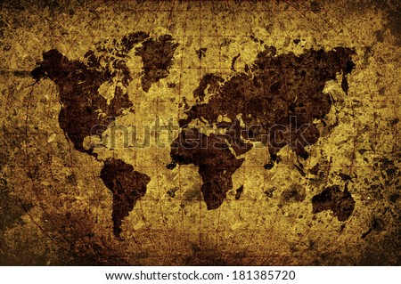 world map with Latitude and Longitude lines in grunge style - stock photo
