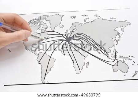 World map with lines between the world's cities - stock photo