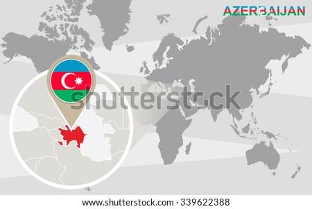 World map with magnified Azerbaijan. Azerbaijan flag and map. Rasterized Copy. - stock photo