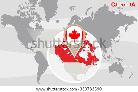 World map with magnified Canada. Canada flag and map. Rasterized Copy. - stock photo
