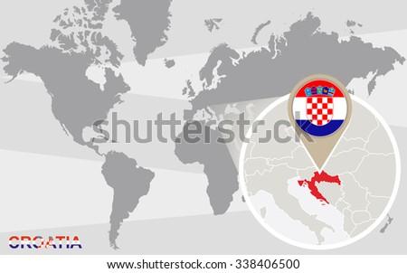World map with magnified Croatia. Croatia flag and map. Rasterized Copy. - stock photo