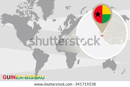 World map with magnified Guinea-Bissau. Guinea-Bissau flag and map. Rasterized Copy.