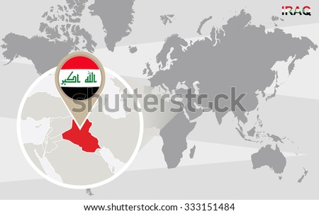 World map with magnified Iraq. Iraq flag and map. Rasterized Copy. - stock photo