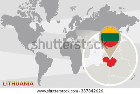 World Map Magnified Lithuania Lithuania Flag Stock Illustration