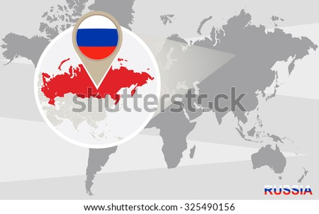 World Map Magnified Russia Russia Flag Stock Illustration - Russia on a world map