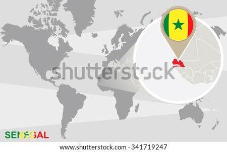 World map with magnified Senegal. Senegal flag and map. Rasterized Copy.