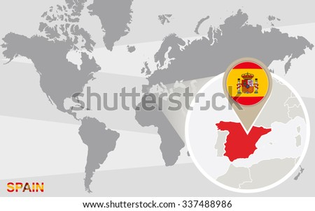 World Map Magnified Spain Spain Flag Stock Illustration - Spain on world map