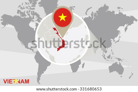 World Map Magnified Vietnam Vietnam Flag Stock Illustration ...