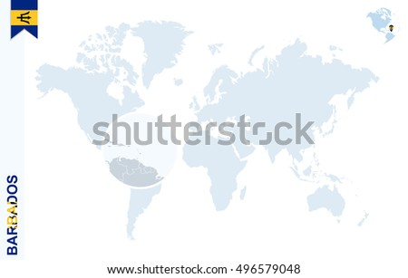 World Map Magnifying On Barbados Blue Stock Vector - Barbados earth map