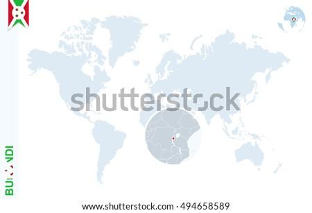 World Map Magnifying On Burundi Blue Stock Illustration - Where is burundi on a world map