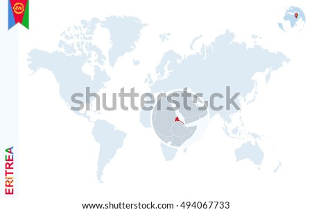 World map magnifying on eritrea blue stock illustration 494067733 world map with magnifying on eritrea blue earth globe with eritrea flag pin zoom gumiabroncs Gallery