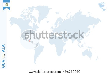 World Map Magnifying On Guatemala Blue Stock Illustration 496212010 ...