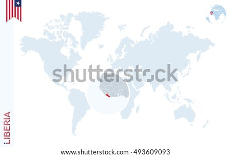 World map magnifying on liberia blue stock illustration 493609093 world map with magnifying on liberia blue earth globe with liberia flag pin zoom gumiabroncs Choice Image