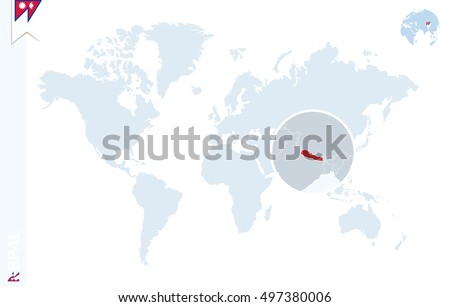 world map with magnifying on nepal blue earth globe with nepal flag pin zoom