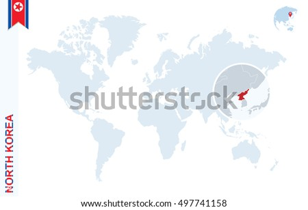 World Map Magnifying On North Korea Stock Vector 423427795