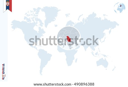 World Map Magnifying On Serbia Blue Stock Vector 412807522