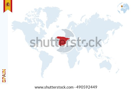 World Map Magnifying On Spain Blue Stock Illustration 490592449 ...