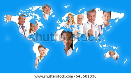 World map with many doctors as international cooperation network with no borders concept