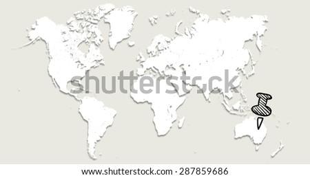 World map pin australia stock illustration 287859686 shutterstock world map with pin in australia gumiabroncs Images
