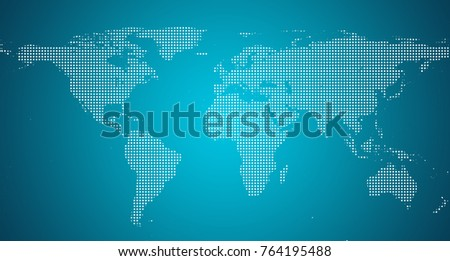 World Map with pixels. Dotted blank black world map isolated on