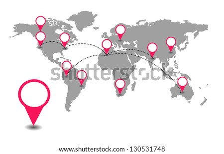 World map with red location pointers - stock photo