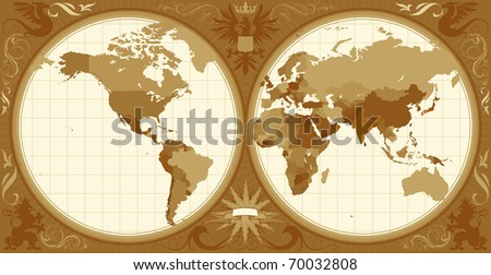 World map with retro-styled hemispheres, ornaments and insignia elements. Raster version. Vector version is also available. - stock photo
