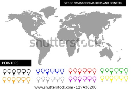 World map with set of blank colorful pointers and markers - stock photo