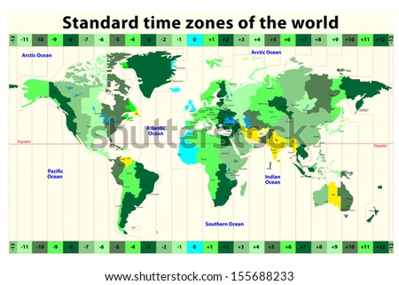 World Map Time Zones Stock Images RoyaltyFree Images Vectors - Global time zones map