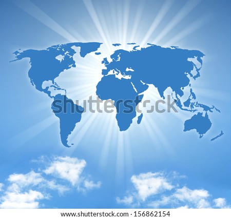 world map with sun and a blue sky