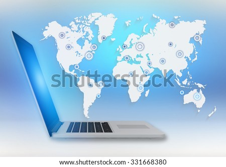 World map with the locations of cities on a laptop.
