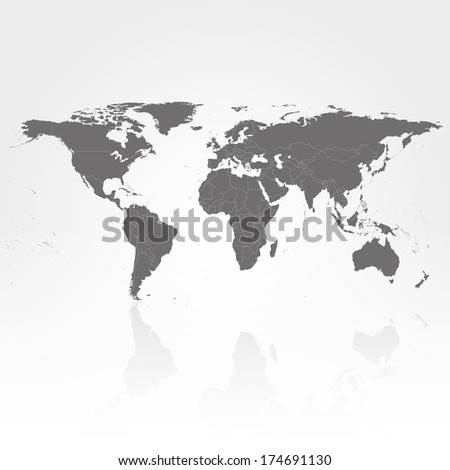 world map with the shadow on gray background illustration - stock photo