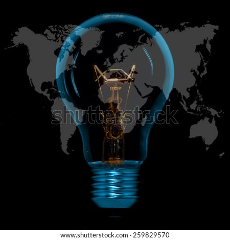 World Map,World atlas in tungsten light bulb, isolated - stock photo