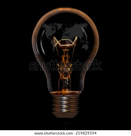 World Map,World atlas in tungsten light bulb, isolated