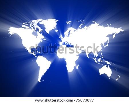 World Map, World background, Light of the World - stock photo