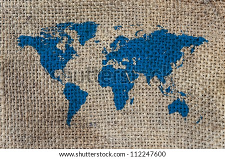 World Map, World background on Burlap - stock photo