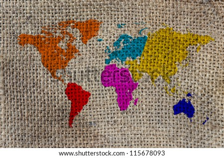 World Map, World background on Burlap