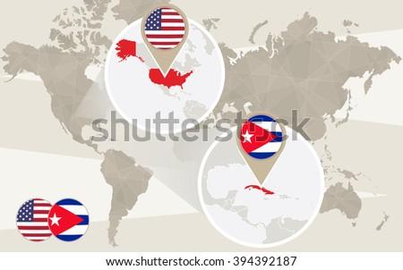World Map Zoom On Usa And Cuba Raster Copy